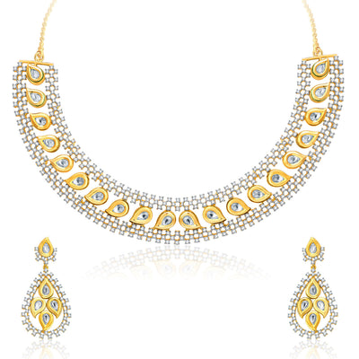 Pissara Fiery Gold And Rhodium Plated CZ Kundan Neklace Set For Women