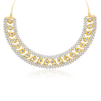 Pissara Fiery Gold And Rhodium Plated CZ Kundan Neklace Set For Women-1