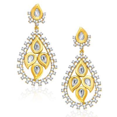 Pissara Fiery Gold And Rhodium Plated CZ Kundan Neklace Set For Women-2