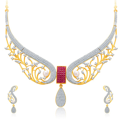Pissara Angelic Gold And Rhodium Plated Ruby CZ Neklace Set For Women