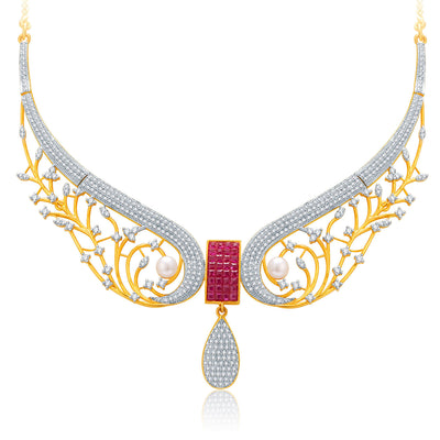 Pissara Angelic Gold And Rhodium Plated Ruby CZ Neklace Set For Women-1