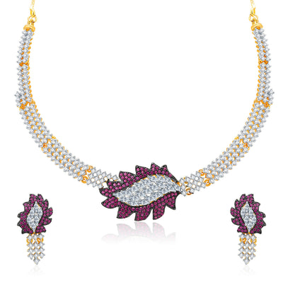 Pissara Sparkly Gold And Rhodium Plated CZ Neklace Set For Women