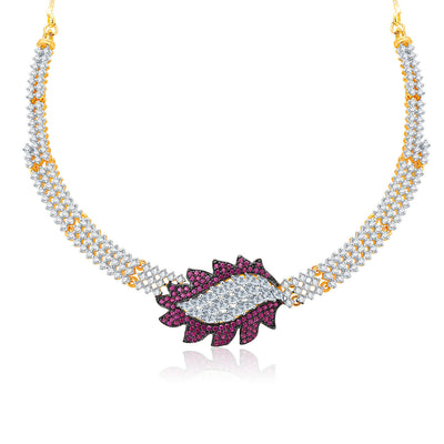Pissara Sparkly Gold And Rhodium Plated CZ Neklace Set For Women-1