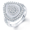 Pissara Shimmering Rhodium Plated CZ Ring