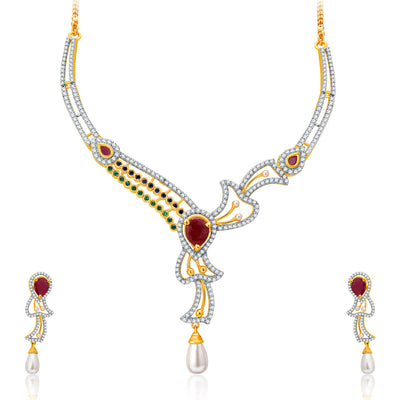 Pissara Fancy Gold And Rhodium Plated Ruby CZ Neklace Set For Women