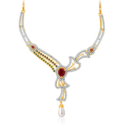 Pissara Fancy Gold And Rhodium Plated Ruby CZ Neklace Set For Women-1
