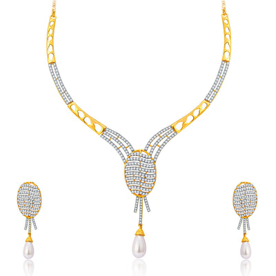 Pissara Flattering Gold And Rhodium Plated CZ Neklace Set For Women