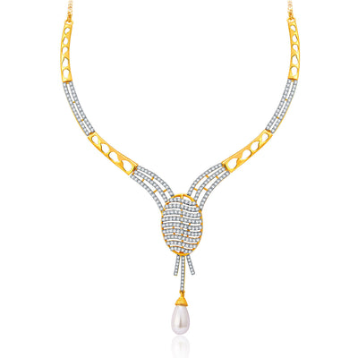 Pissara Flattering Gold And Rhodium Plated CZ Neklace Set For Women-1