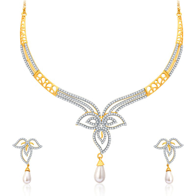 Pissara Intricate Gold And Rhodium Plated CZ Neklace Set For Women