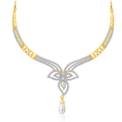 Pissara Intricate Gold And Rhodium Plated CZ Neklace Set For Women-1