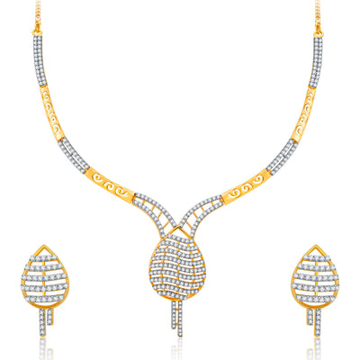 Pissara Lovely Gold And Rhodium Plated CZ Neklace Set For Women