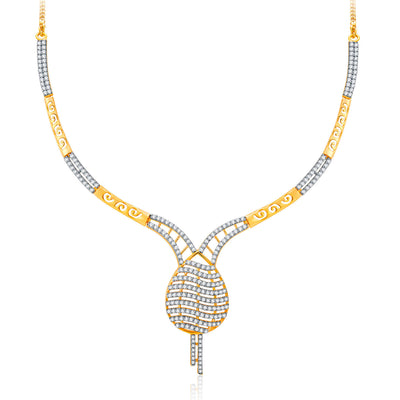 Pissara Lovely Gold And Rhodium Plated CZ Neklace Set For Women-1