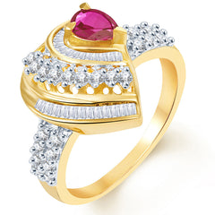 Sukkhi Bewitching Two Tone CZ Ruby Ring