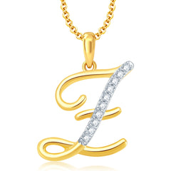 "Pissara Letter ""Z"" Gold and Rhodium Plated CZ Alphabet Pendant"