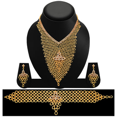Sukkhi Creative Gold Plated AD Necklace Set For Women