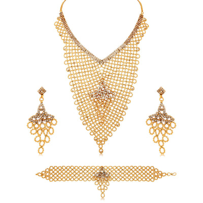 Sukkhi Creative Gold Plated AD Necklace Set For Women-1
