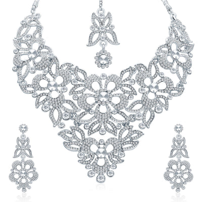 Sukkhi Elegant Rhodium Plated AD Necklace Set For Women