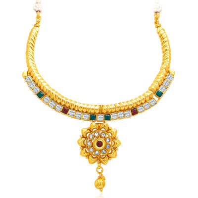 Sukkhi Charming Gold Plated AD Necklace Set For Women-3