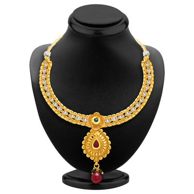Sukkhi Glorious Gold Plated AD Necklace Set For Women-2