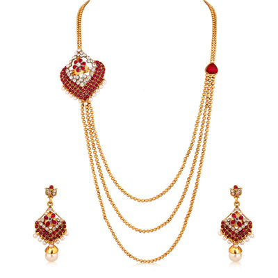 Sukkhi Enchanting Three Strings Gold Plated AD Necklace Set For Women-1