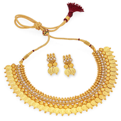 Sukkhi Astonish Gold Plated Temple Jewellery Coin Necklace Set For Women-6