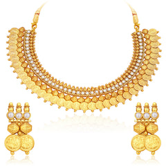 Sukkhi Astonish Gold Plated Temple Jewellery Coin Necklace Set For Women-1