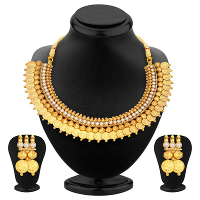 Sukkhi Glistening Laxmi Temple Coin Gold Plated Set of 3 Necklace Set Combo For Women-2