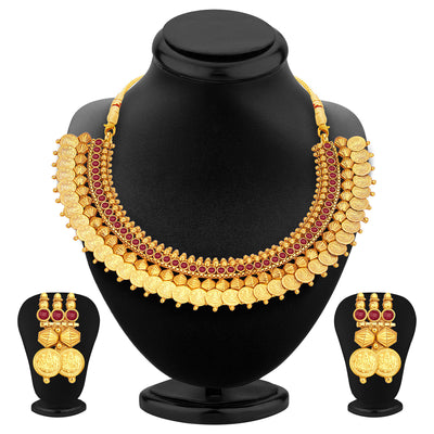 Sukkhi Glistening Laxmi Temple Coin Gold Plated Set of 3 Necklace Set Combo For Women-4