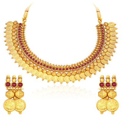Sukkhi Marvellous Gold Plated Temple Jewellery Coin Necklace Set For Women-1