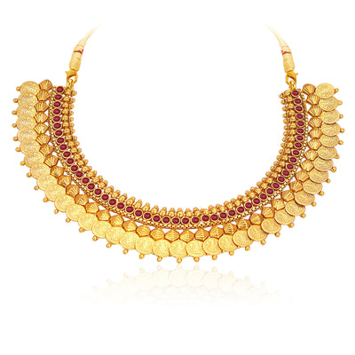 Sukkhi Marvellous Gold Plated Temple Jewellery Coin Necklace Set For Women-3