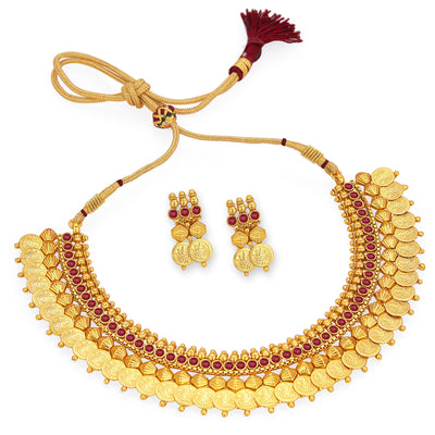 Sukkhi Marvellous Gold Plated Temple Jewellery Coin Necklace Set For Women-6