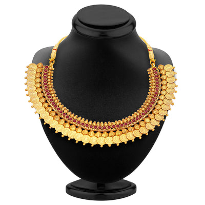 Sukkhi Marvellous Gold Plated Temple Jewellery Coin Necklace Set For Women-2