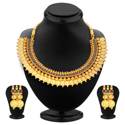 Sukkhi Glistening Laxmi Temple Coin Gold Plated Set of 3 Necklace Set Combo For Women-6