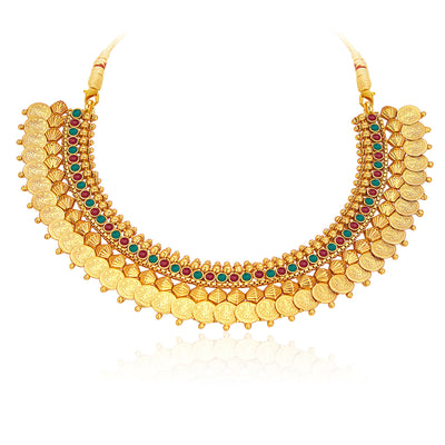 Sukkhi Stylish Gold Plated Temple Jewellery Coin Necklace Set For Women-3
