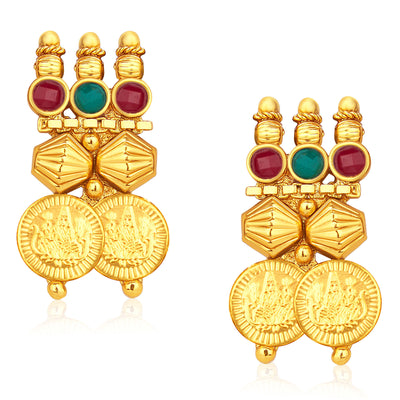 Sukkhi Stylish Gold Plated Temple Jewellery Coin Necklace Set For Women-5