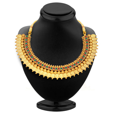 Sukkhi Stylish Gold Plated Temple Jewellery Coin Necklace Set For Women-2