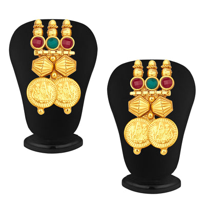 Sukkhi Stylish Gold Plated Temple Jewellery Coin Necklace Set For Women-4