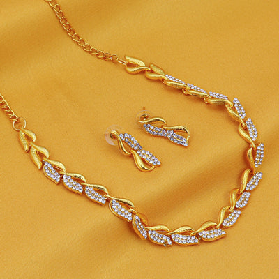 Sukkhi Graceful Gold Plated AD Necklace Set For Women