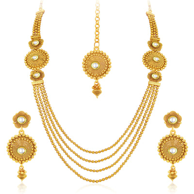 Sukkhi Pleasing Four Strings Gold Plated Necklace Set For Women-1