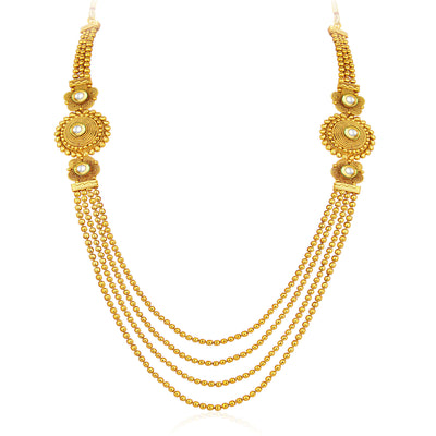 Sukkhi Pleasing Four Strings Gold Plated Necklace Set For Women-3