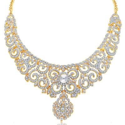 Sukkhi Attractive Gold Plated AD Necklace Set For Women-1