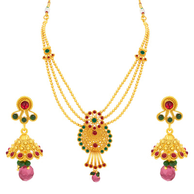 Sukkhi Ravishing Three String Gold Plated Necklace Set For Women