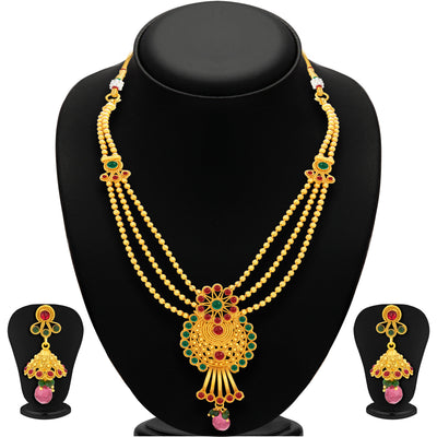 Sukkhi Ravishing Three String Gold Plated Necklace Set For Women-1