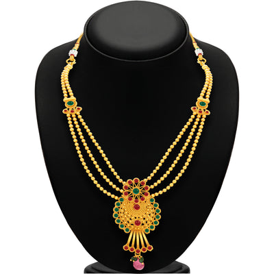 Sukkhi Ravishing Three String Gold Plated Necklace Set For Women-3
