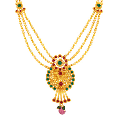Sukkhi Ravishing Three String Gold Plated Necklace Set For Women-2