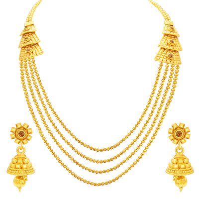 Sukkhi Magnificent Four String Gold Plated Necklace Set For Women