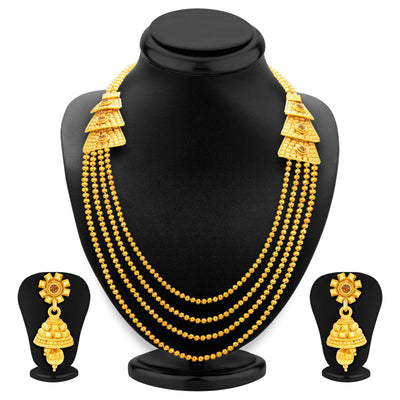 Sukkhi Magnificent Four String Gold Plated Necklace Set For Women-1