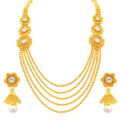 Sukkhi Intricately Crafted Five String Jalebi Gold Plated Necklace Set For Women