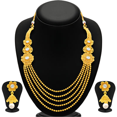 Sukkhi Intricately Crafted Five String Jalebi Gold Plated Necklace Set For Women-1
