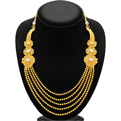 Sukkhi Intricately Crafted Five String Jalebi Gold Plated Necklace Set For Women-3